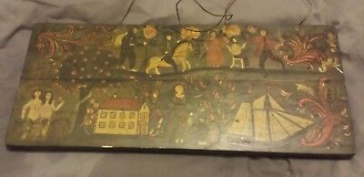 wooden plaque hand painted antique vintage wall hanging picture art