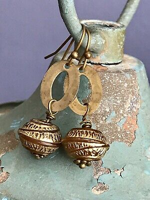 Vintage Etched Gold Bead and Bronze Earrings. Light Weight, Fun To Wear.