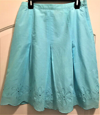 Fall!  Beautiful Ocean Blue Floral Embroidered Lined Skirt!    Sz 8    Nwot!