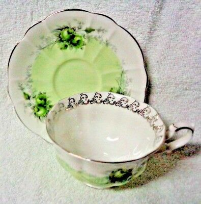 Royal Albert Rose Marie Series Noonday Green Wash Cup  3 3/4 In And Saucer
