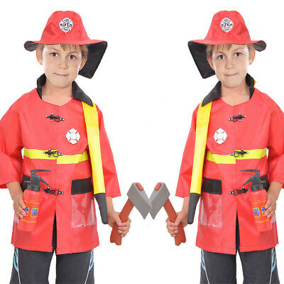 3-7Y Kids Firemen Halloween Costume Dress Role Play Sets 5pcs Outfit Boys Girls