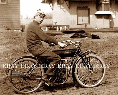 1900's VINTAGE INDIAN MOTORCYCLE WITH RIDER WEARING OLD GOGGLES BIKER PHOTO