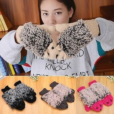 Girls Women Winter Warm Wrist Gloves Fleece Cartoon Cartoon Hedgehog Fur Mittens
