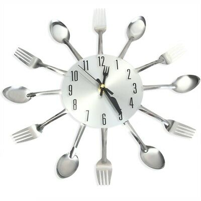 Stainless Steel Housewares Cutlery Analog Wall Clock For Kitchen Home Decoration