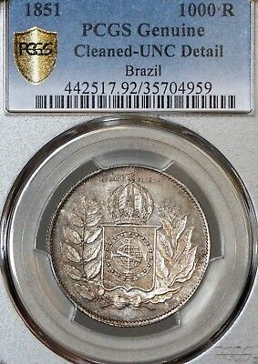 1851 Brazil 1000 Reis Pcgs Unc Details (Cleaned) Tough To Find Nice Eye Appeal!