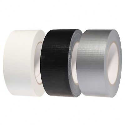 DUCK DUCT GAFFA GAFFER WATERPROOF CLOTH TAPE SILVER / BLACK / WHITE  50mm X 50M