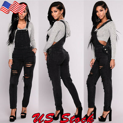 USA Women Denim Jeans BIB Pants Overalls Straps Jumpsuit Rompers Ripped Trousers