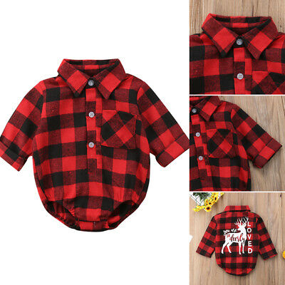 US STOCK Infant Kids Baby Girl Boy Christmas Elk Romper Bodysuit Outfits Clothes