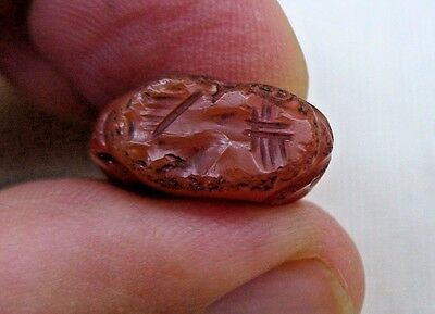 Antique Agate Stone Bead With Ancient Writing Middle East With Hole Bronze Age
