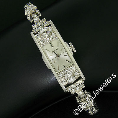Antique Art Déco Platine Glycine 1.21ctw Diamant Femmes Long Dîner Montre