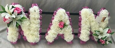 Nan Artificial Silk Funeral Flower Any 3 Letter Name Tribute Memorial Wreath Mum