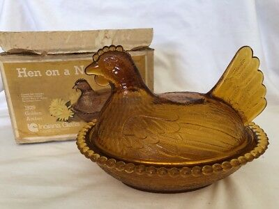 Vintage Indiana Glass Amber Glass Hen On A Nest Chicken, Eggs, Candy In Box