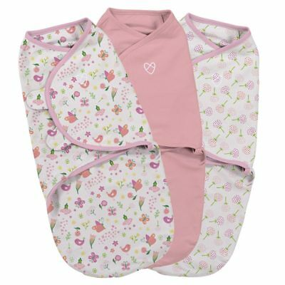 SwaddleMe Swaddle - Small 0-3 months - Pack of 3 - Secret Garden Pink Flowers