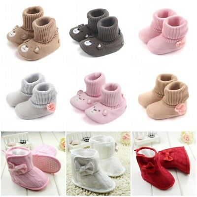 Baby Girl Knit Flower Warm Boots Booties Infant Toddler Newborn Snow Slippers