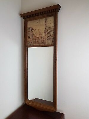 Vintage Antique Wall hanging Mirror with view of Florence, Italy 1100 cm x 47 cm