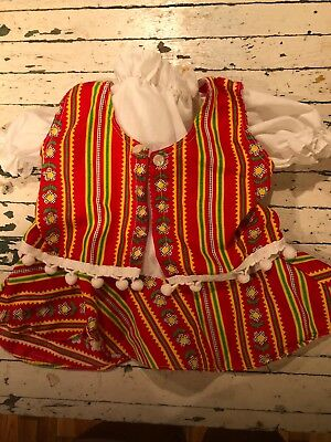 Vintage Festive Red Green Yellow Vintage Baby Outfit 2 Pc Pom Poms Vest