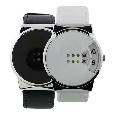 Fashion Men women Faux Leather Strap Digital Quartz Wrist Watch Soft