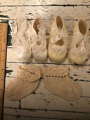 Lot Vintage Baby Shoes Booties Ruffles, Embroidered, Knit 3 Pairs
