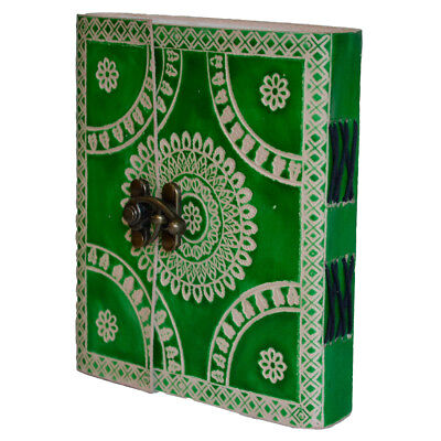 Journal Diary Notebook Leather Vintage Indian Hand-Painted Floral Green Blank