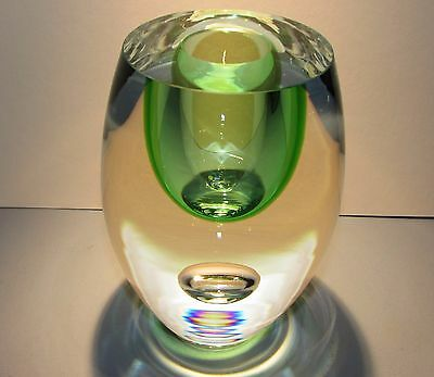 BERANEK Studio Art Glass Crystal Vase Green Hand Blown Czech Bohemia Bohemian