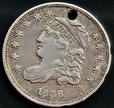 1836 Capped Bust Half Dime 5c nice XF+ Details Holed 4197