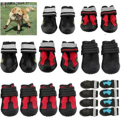 4Pcs Waterproof Pet Non-slip Shoes Dog Puppy Reflective Strip Boots Booties