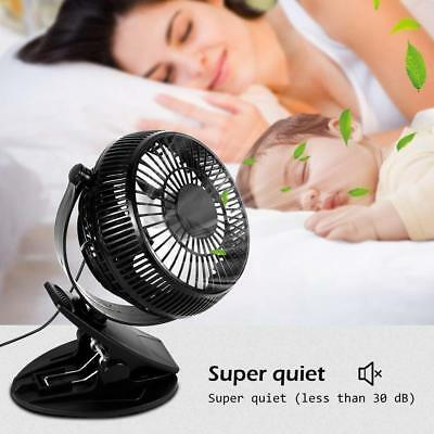 """Clip On Mini Electric Cooling Fan Portable Oscillating Table Desk 2 Speed 5"""" FB"""