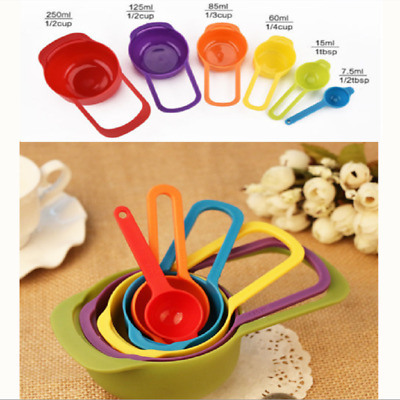 6pcs Rainbow Measuring Cup Spoons Plastic Nested Baking Cooking Kitchen Tool