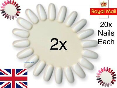 2x Nail Colour Display Wheel Chart Stand Gel Art Practice False Tips White Oval