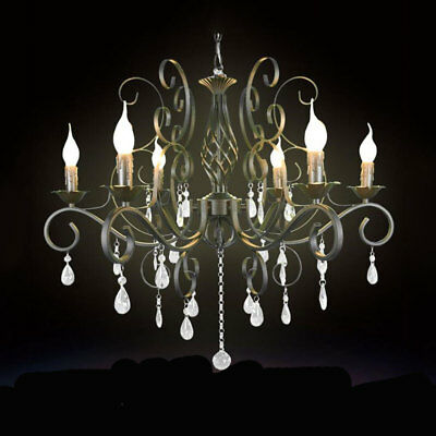 Black Wrought Iron Crystal Chandelier 6-light Crystal drops ceiling hanging lamp