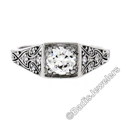 Antique Art Deco Platinum .81ct Diamond Milgrain Etched Filigree Engagement Ring