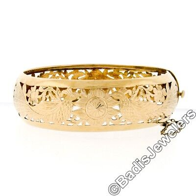 Wide Antique 18K Yellow Gold Hand Pierced & Etched Peacock Hinge Bangle Bracelet