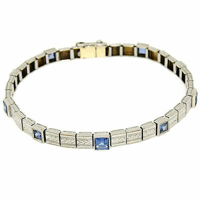Antique Art Deco Platinum & 14k Gold Syn Sapphire Milgrain Etched Link Bracelet