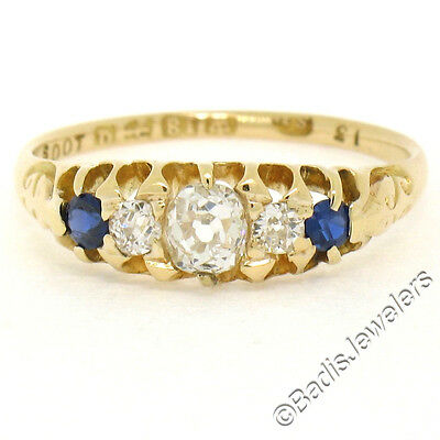 Antique Victorian 18K Yellow Gold .65ctw Old Diamond & Sapphire Etched Band Ring