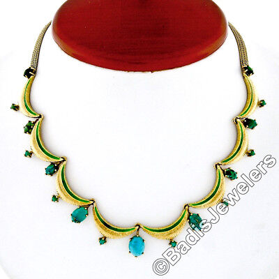 Vintage 18K Gold Enamel Statement Collier Necklace w/ Natural Persian Turquoise