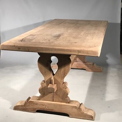 Antique French scrubbed oak 2'' thick Monastery table