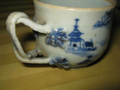 BLUE & WHITE Chinese JIAQING 嘉慶 era tea cup. Ornate braided handle. #1 of 2 LQQK