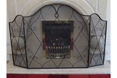 Vintage Antique Iron Ornate  Arched Mesh Fire Guard Screen Surround Black 2358