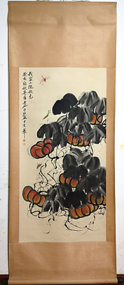 RARE Chinese 100%  Handed Painting & Scroll Pumpkin By Qi Baishi 齐白石 ZZAL97B