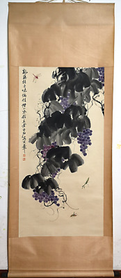 RARE Chinese 100% Hand-painted Painting & Scroll Grapes By Qi Baishi 齐白石 ZZAL97C
