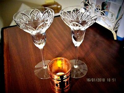 """Pair Fabulous Lenox Fine Crystal Stemmed Candle Holders 7 1/2"""" Tall One Marked"""