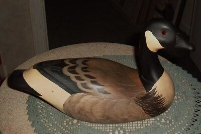 Vtg A Wooden Bird Factory Handpainted Canada Goose / Duck Decoy 1984 A. Poverud