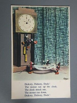 R&L Postcard: Grandfather Clock Face, Wood Toy Mouse Figures, Nusery Rhyme