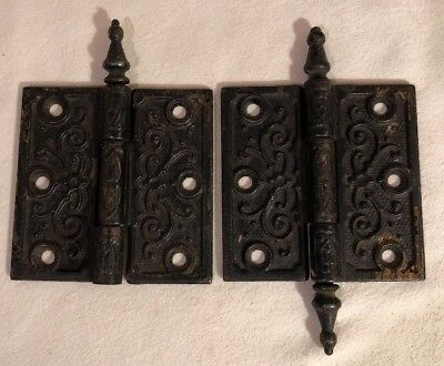 Antique Victorian Pair Cast Iron ORNATE Door Hinge STEEPLE Eastlake? Vintage