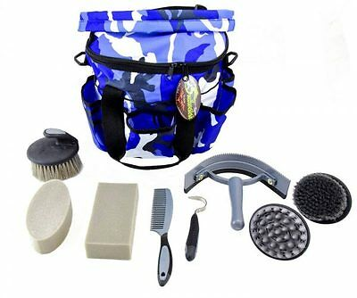 Deluxe Grooming Kit - By Southwestern Equine (Camo Blue)
