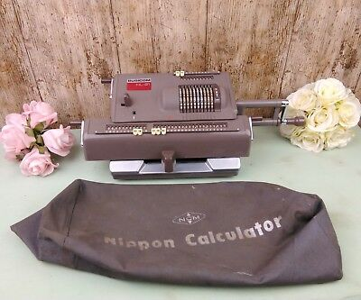 Vintage Nippon Busicom HL-21 Hand-Operated Mechanical Calculator & Cover
