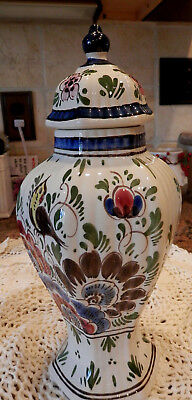 Floral Ginger Jar Handpainted - F. Nells (?) Made in Holland - floral design