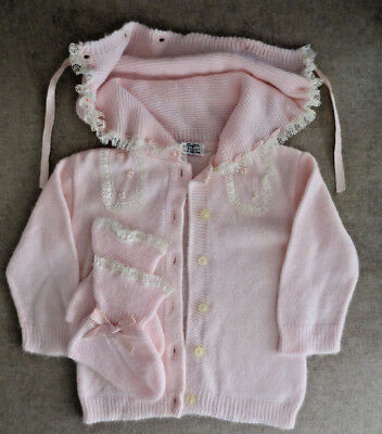 Vintage Baby Knitown Sweater w/ Hood Soft Orlon Infant Toddler Girl 1950's