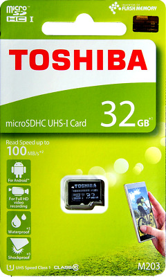 TOSHIBA 32GB Micro SD Card 100MB Class 10 With Adapter Standard Packaging NEW