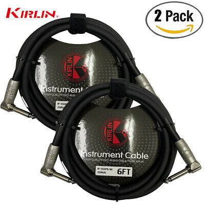 "2 PACK Kirlin 6 FT 1/4"" Mono Right-Angle Male/Male Guitar Instrument Cable NEW"